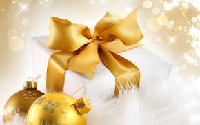 Picture balls, gold, holiday, box, gift, balls, sequins, New Year, Christmas, tape, bow, gold, packaging