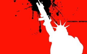 Wallpaper modern America, rifle, text, freedom, statue