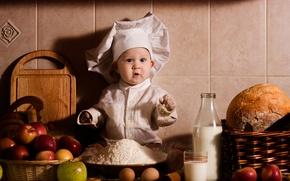 Picture bottle, child, flour, milk, eggs, bread, surprise, baskets, glass, apples, cook