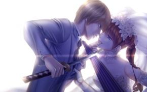 Picture girl, sword, katana, umbrella, guy, Gintama, Okita Sougo, Kagura