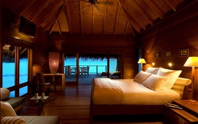 Picture sea, stay, bed, pillow, Bungalow, lamps