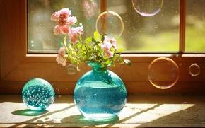 Picture bubbles, blue, still life, vase, roses