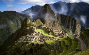 Wallpaper the sky, clouds, ruins, the ancient city, South America, Peru, Machu Picchu