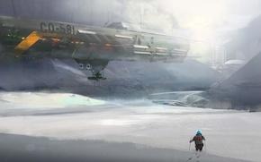 Wallpaper ship, the suit, cold, snow, art, ski, people, fiction