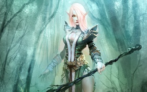 Picture forest, Girl, armor, staff, elf