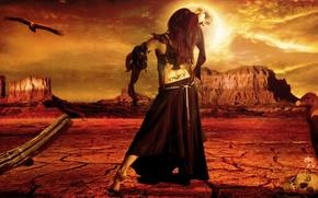 Picture Girl, moon, Fantasy, desert, bones, Honnoror