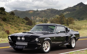 Picture road, the sky, clouds, black, hills, tuning, coupe, mustang, Mustang, ford, shelby, Ford, Shelby, tuning, …
