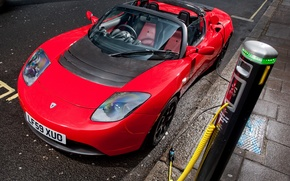 Picture Roadster, Red, Sport, Machine, Machine, Red, Car, Car, Cars, Tesla, Sport, Cars, Roadster, UK-spec, Tesla