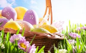 Wallpaper the sky, eggs, Easter, Easter, Holidays