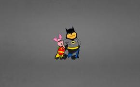 Picture the dark background, batman, minimalism, Winnie The Pooh, the trick, funny, robin, Piglet, Winnie-the-Pooh, Batman …