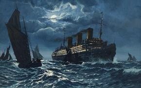 Picture sea, wave, night, ship, adolf bock, the seascape