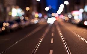 Picture asphalt, rails, lights
