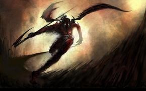 Wallpaper Wings, Braid, Running, Darkness