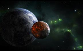 Picture stars, nebula, planet, satellite, green, volcanic, activity