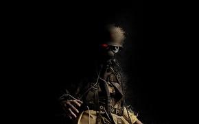 Picture star, soldiers, gas mask, helmet, trunk, Trooper, red eye