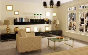 Wallpaper design, table, room, lamp, interior, chair, window, pictures, mirror