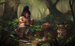 Picture forest, girl, butterfly, cats, animals, mask, art, the bushes, swords, bubble, potion, Nidalee, League of …