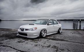 Picture turbo, white, wheels, subaru, japan, wrx, impreza, jdm, tuning, power, front, Subaru, sti, face, Impreza, …
