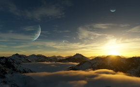 Wallpaper planet, mountains, snow, art, tops, view, clouds, landscape, height, sunset