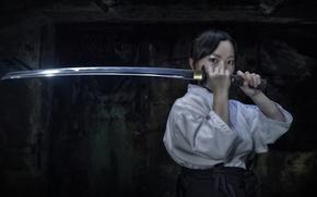 Picture look, girl, weapons, katana, kimono, Asian