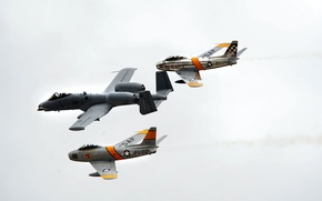 Picture A-10 Thunderbolt II, pilots, F-86 Sabres, flanking