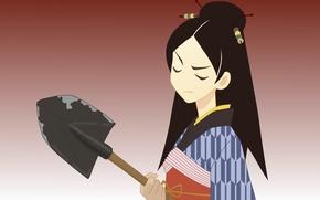 Picture Japanese, brunette, studs, kimono, shovel, closed eyes, Sayonara Zetsubou Sensei, Farewell bleak Sensei