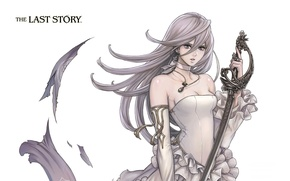 Picture white, girl, the game, sword, Anime, the last story