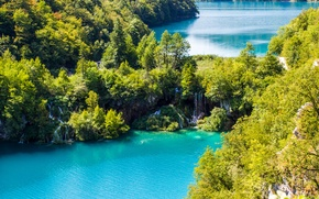 Picture trees, landscape, lake, waterfall, trees, landscape, lake, waterfall, beautiful nature, beautiful nature