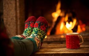 Picture comfort, heat, Cup, fireplace, legs, socks