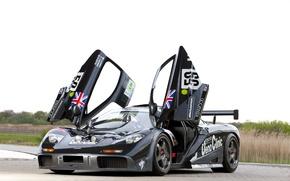 Picture landscape, black, McLaren, door, track, track, gtr, the front, racing