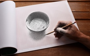 Picture paper, table, figure, hand, artist, album, pencil, the volume, drawing, bowl