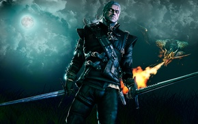 Wallpaper hunting, white wolf, geralt of rivia, dragon, the moon, Witcher, the full moon, field, night, ...