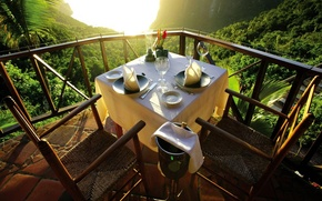 Picture mountains, view, view, mountain, Caribbean Islands, Saint Lucia, Saint Lucia, a table for two, Caribbean …