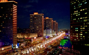 Picture night, Moscow, Russia, Russia, Moscow, night light, New Arbat