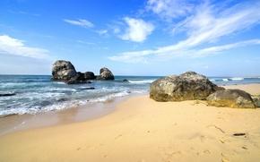 Wallpaper sand, sea, wave, beach, shore, summer, beach, sea, blue, sand, shore, paradise
