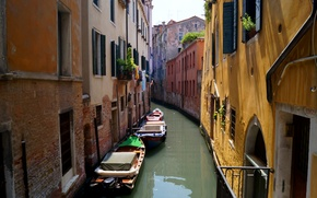 Picture wall, boats, Venice, channel