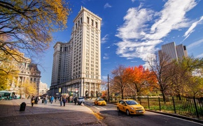 Picture Manhattan, Park, skyscrapers, NYC, road, machine, the city, building, autumn, clouds, New York, New York ...