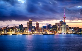 Picture the sky, clouds, lights, coast, home, Bay, New Zealand, Bay, Auckland