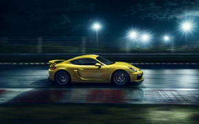 Picture Porsche, Cayman, Speed, Yellow, Side, Supercar, Track, GT4, 2015, Ligth, Nigth