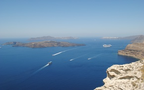Picture sea, rocks, ship, Santorini, view