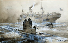 Picture oil, picture, canvas, Willy Stöwer, German artist, «The death of Linda Black Out of Liverpool», …