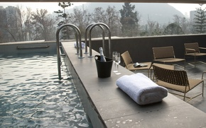 Picture glass, pool, room, interior, champagne