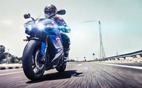 Picture road, race, lights, speed, motorcycle, biker, yamaha, Yamaha R1