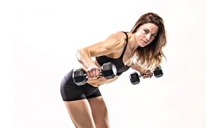 Wallpaper model, pose, workout, fitness, dumbbell, Maria Bresler