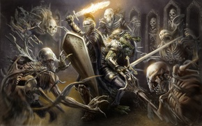 Picture weapons, fire, sword, armor, crocodile, art, helmet, shield, knight, skeletons