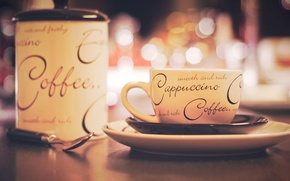 Wallpaper labels, table, Cup, cappuccino, plate, coffee, saucer, bokeh, sugar bowl, spoon