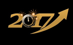 Wallpaper energy, yellow, time, lights, background, holiday, black, graphics, watch, new year, vector, figures, arrow, black ...