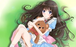 Picture toy, bear, girl, shionji yuuko, kamisama no memo chou