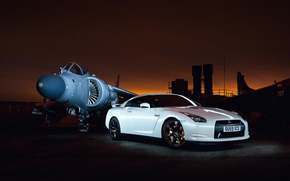 Picture white, sunset, excerpt, GTR, Nissan, the airfield, aircraft, Godzilla, R35