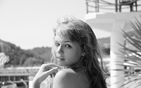 Picture look, girl, face, sweetheart, model, hair, black and white, beautiful, shoulder, Anastasia Shcheglova, Anastasia Shcheglova